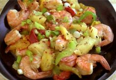 Shrimp with Warm Pepper-Pineapple Relish