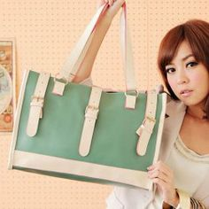 $25.94 New Arrival Sweet Color Splicing Zipper Design Big Bag For Women