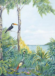 $40/ wonder if this would work in C's room.  It would be less than time necessary to paint it. Blue Lagoon 403 Wall Mural