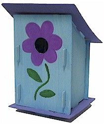 Easy Flowered Birdhouse. Just paint the pieces then snap together. Available at MakingFriends.com