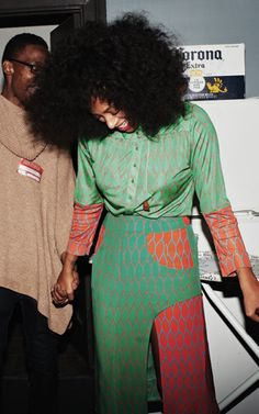 Solange in Kenzo top and skirt