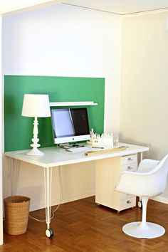 White office with green color block