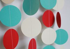 Birthday Party Garland.  Red, Aqua and Ivory . Birthday Party Decoration
