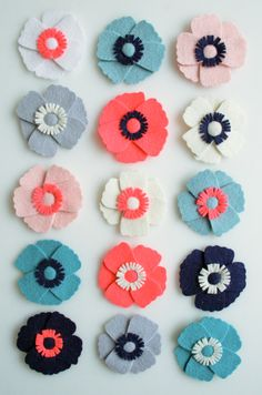 Felt Anemone Flower Magnets - The Purl Bee bees, hair clips, sewing crafts, magnets, color, craft patterns, anemon, flower magnet, felt flowers