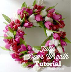 Tulip Door Wreath - theDIYvillage.com no glue, no pins, no staples....I can do this!