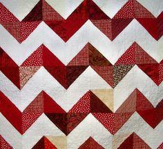 Red White Quilt Chevron Triangles Zig Zag by atthebrightspot, $315.00