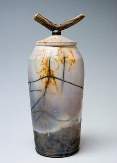 Saggar Fired Pot with Driftwood Handle by Rocky Mann