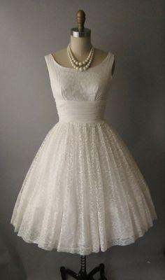 vintage 50's lace chiffon tea length wedding dress $172 for Tiffany
