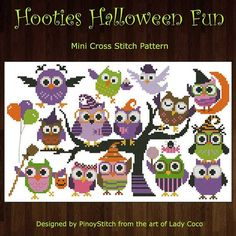 crossstitch idea, halloween fun, hooti halloween, owl, cross stitch charts