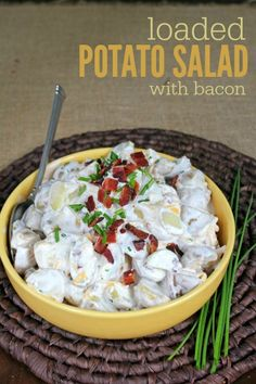 Loaded Potato Salad with Bacon recipe -- Perfect picnic, potluck, or side dish! Also includes how to cook potatoes perfect every time!