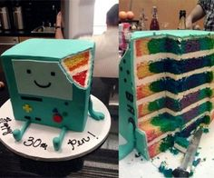 """Amazing BMO Adventure Time Birthday Cake Has a Colorful Surprise on the Inside! ON the bottom its says, """"Happy 30th Pen!"""" Pen is the creator of Adventure time!"""