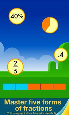 Motion Math: Fractions // Bounce your way to fractions mastery! For ages 5 and up, Motion Math helps learners estimate four forms of fractions: numerator over denominator (1/2), percents (50%), decimals (.5), and pie charts. Perceiving fractions quickly and accurately is needed for advanced math success.