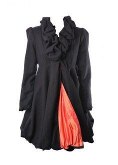 Black Ruffle-Collar Coat