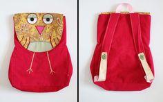 Toddler animal backpacks: Yellow Owl on Pink Backpack
