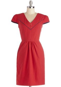 Cherry Pie Champ Dress - Nautical, Red, Blue, Buttons, Pockets, Trim, Casual, Sheath / Shift, Cap Sleeves, Better, V Neck, Woven, Mid-length... $95