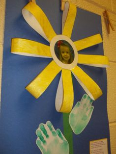 Tuesday, we made Loopy Flowers with each Child's picture in the center and hand print leaves! The children painted a sheet of white construction paper with sparkle yellow fingerpaint. I cut the paper in strips to build the flower.  We did have to hot glue the picture in to stick to the sparkled finger paint!