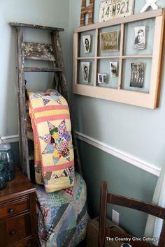 diy home decor, decor crafts, vintage farmhouse decor, vintag ladder, old windows, vintage windows, picture frames, quilt racks, ladder quilt