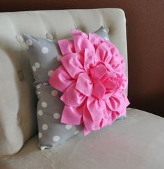 Pink Dahlia on Gray and White Polka Dot Pillow -Baby Nursery Pillow- Toss Pillow Decorative Pillow