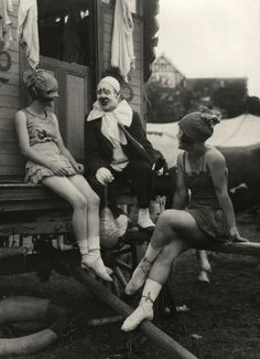Thora and Nellie joking with clown, Travelling Circus, c.1918 photo by  E.O.Hoppe