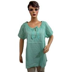 Womens Cotton Blouse with Embroidered Teal Green Tunic Top Medium (Apparel)