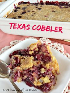 Texas #Cobbler Recipe - Spectacular dump cake-type dessert using blueberry and cherry pie fillings, crushed pineapple, almonds and coconut
