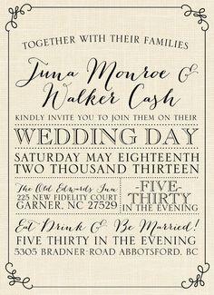 Burlap Wedding Invitation by JulsNewbrough on Etsy, $35.00