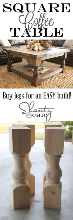 Loving this DIY Square Coffee Table!  Looks easy!!