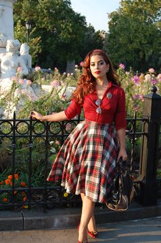 40s 50s style modern version of vintage fashions plaid skirt red sweater girl