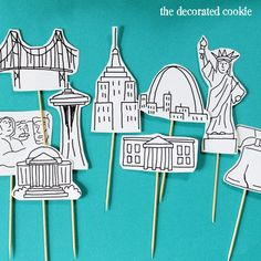 USA landmark cupcake topper printables the kids can color in