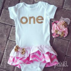 Baby Girl First Birthday Outfit Pink and Gold Chevron Tutu