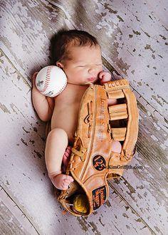 Newborn Baby Boy Picture with baseball glove | Newborn portraits | Waldorf Md | Newborn with twin sisters