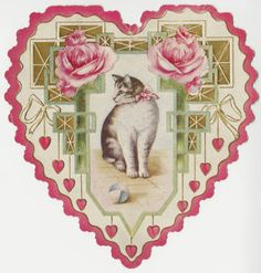Cat framed by hearts and peonies :: Archives & Special Collections Digital Images :: circa 1910