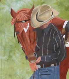 """Best Friends"" art quilt by Cuppi Duke, inspired by her father with his horse.  Fusible applique with hand-dyed fabrics."