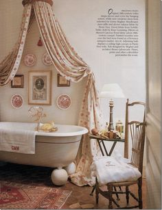 charming bathroom - Ginny Magher Provence home Mas de Baraquet. Note the monogrammed towel.