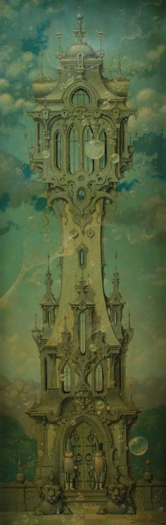 Fantasy Daniel Merriam cityscapes, daniel merriam, artists, tower, bubbles, ivory, navy, homes, 15 years