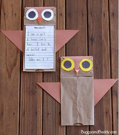 These Paper Bag Owls are too cute! There are even free printables to help you turn this owl craft into a fun group activity. | AllFreeKidsCrafts.com