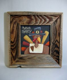 Tole Painted Folk Art Turkey Have Mercy Frame by barbsheartstrokes,