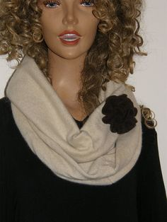 Pure cashmere infinity scarf sandy beige off white color, upcycled cashmere hand sewn by mcleodhandcraftgifts,