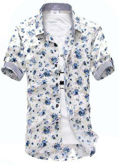 Short sleeved button down fitted shirt