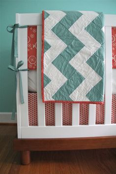 organic nursery in aqua and coral nursery colors, color schemes, color combos, quilt patterns, crib, organ nurseri, color combinations, quilting projects, chevron quilt