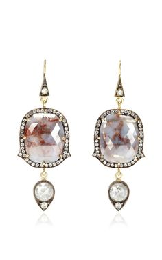 One of a Kind Natural Blue Diamond Earrings by Sylva & Cie for Preorder on Moda Operandi