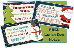 FREE: Christmas Lunch Box Notes - perfect for notes from the Elf, breakfast notes, and lunch box notes!