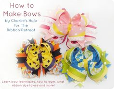How to Make Bows: Twisted Boutique, Pinwheel, Surround Loops - and how to stack them! {The Ribbon Retreat Blog} hairbow, bow tutorial, craft, ribbon retreat, retreat blog, hair bows, twist boutiqu, make bows, boutique bows