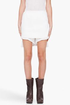diapers? RICK OWENS White Layered Silk Shorts
