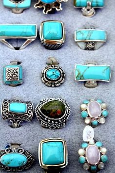 Turquoise And Silver...i freaking need alllllll of these!!!! Turquoise is my weakness...--dani