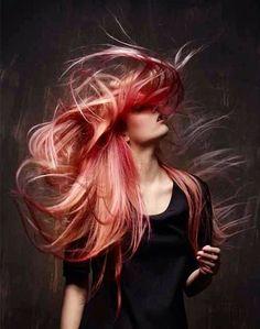 Pink and peach hair