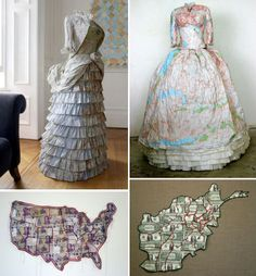Dresses made out of maps by Susan Stockwell