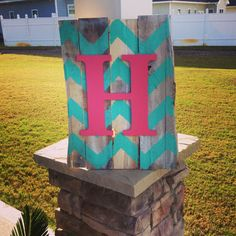 Chevron Whitewashed Initial Pallet Sign Custom by TheCoralAnchor