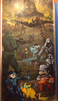 Video Game Art in a Gamestop. Ahh so many things here! Ezio, Cloud, Mario, Samus, Darth Vader, Ninja Turtles, Pikachu, Master Chief, SORA!!! :D