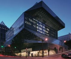 Seattle Public Library's Central Library has a futuristic glass façade and a unique book spiral.